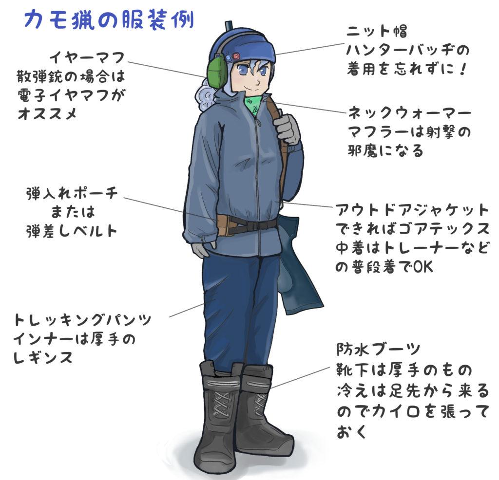 カモ猟の服装